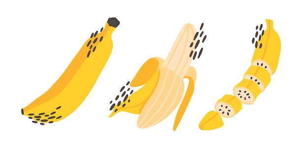 Набор красочных handdrawn плоских бананов абстрактных точек и текстур