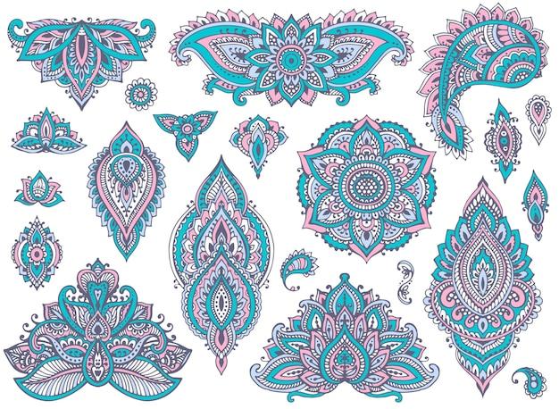 カラフルなヘナの花の要素の伝統的なアジアの装飾品のセット。 paisley mehndidoodlesコレクション。青とピンクの柔らかな色