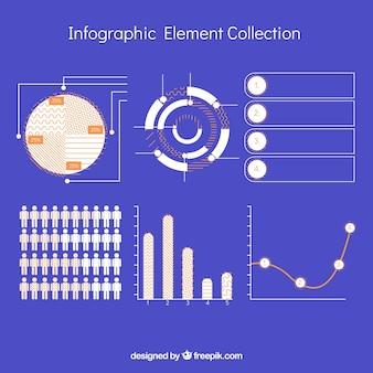 Набор красочных инфографических элементов в плоском стиле