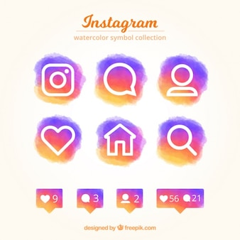 Set of colorful instagram watercolor icons