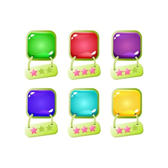 녹색 테두리와 매달려 스타 아이콘이있는 다채로운 젤리 버튼 게임 ui 세트