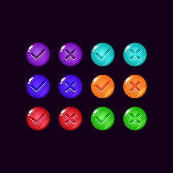 Набор красочных кнопок пользовательского интерфейса игры желе с галочками для элементов пользовательского интерфейса