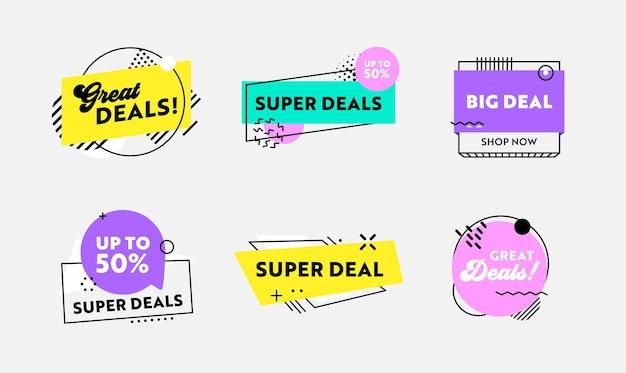 Набор красочных этикеток или значков с абстрактными геометрическими фигурами для большой продажи, дизайн промо-постов для медиа цифрового маркетинга. флаеры для продвижения бренда влиятельного лица. векторные иллюстрации