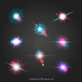 Set of colorful lens flare with realistic style