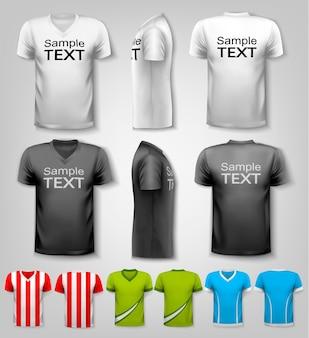 다채로운 남성 티셔츠 세트입니다. 벡터.