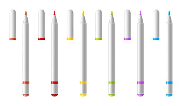 다채로운 마커 세트입니다. 가정, 사무실 및 학교 프로젝트, 스크랩북의 디자인을위한 현실적인 형광펜, 펠트 팁 마커 또는 펜 컬렉션.