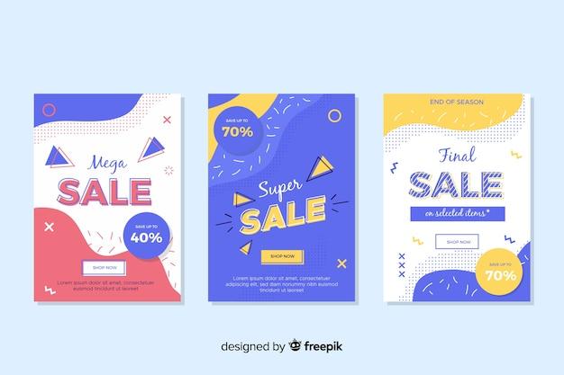다채로운 멤피스 판매 배너 세트
