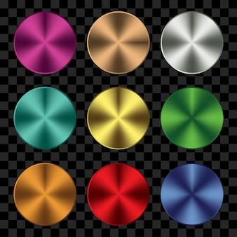 カラフルな金属形状の円のセット