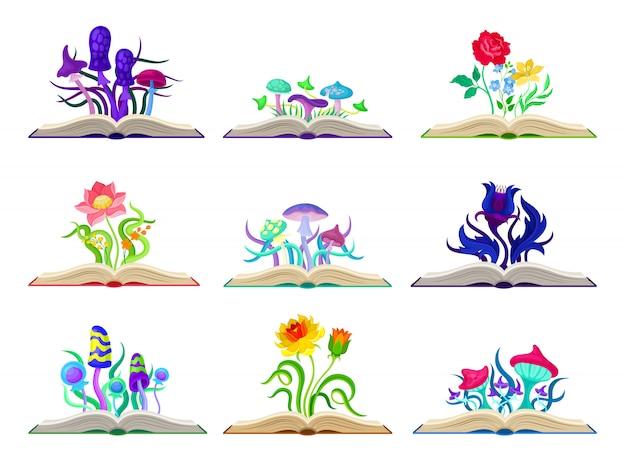 カラフルなキノコと花のセットです。白い背景のイラスト。