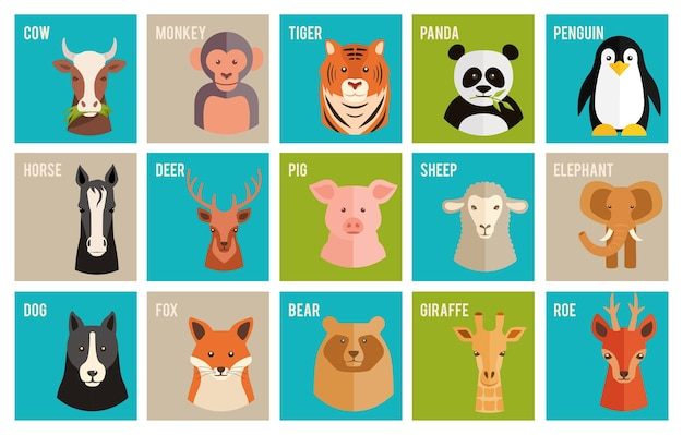 Набор красочных названных мультяшных векторных иконок животных и домашних животных в плоском стиле с головами лошади, коровы, обезьяны, тигра, панды, пингвина, оленя, косули, свиньи, слона, собаки, лисы, медведя и жирафа