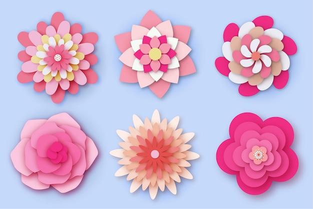 Набор красочных срезанных цветов из бумаги
