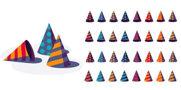 Набор красочных партийных шляп, изолированные на белом фоне. набор шапок на день рождения. с днем рождения праздничный, иллюстрация.