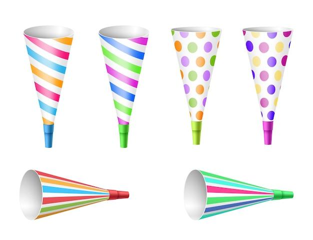 축제 행사 축하, 생일 축하 및 장식을 위한 다채로운 파티 뿔 송풍기 세트. 밝은 원뿔이 현실적입니다. 벡터 일러스트 레이 션
