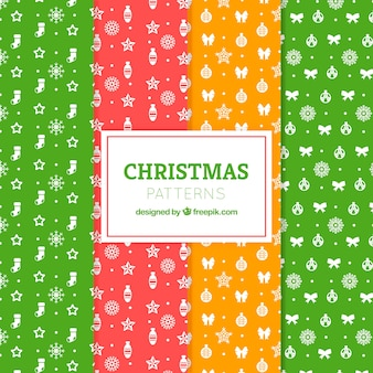 Set of colorful patterns with christmas elements