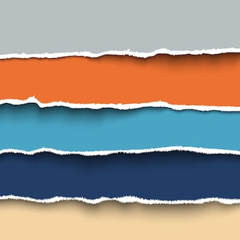 Набор красочных кусочков рваной бумаги с рваными краями, рваный картон.