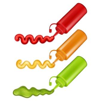 다채로운 플라스틱 병 세트