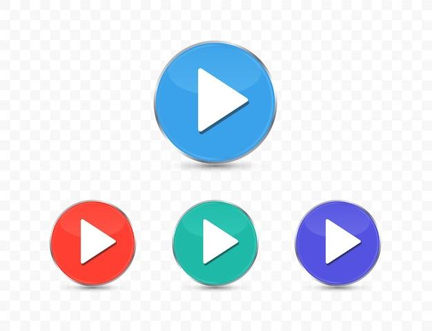 투명 한 배경에 고립 된 다채로운 재생 버튼 세트
