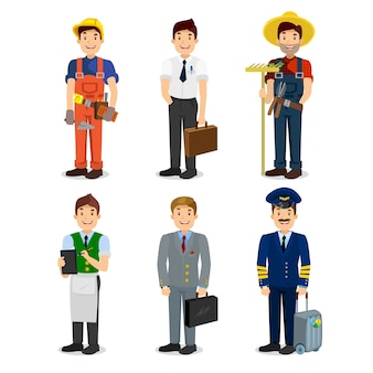 カラフルな職業男フラットスタイルアイコンパイロット、ビジネスマン、ビルダー、ウェイター、農家、マネージャーのセット。