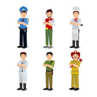 カラフルな職業男フラットスタイルアイコン警官、アーティスト、炊飯器、軍事、医者、消防士のセットです。さまざまな職業のキャラクター