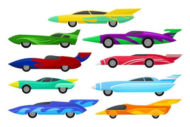 화려한 경주 용 자동차의 집합입니다. 스포일러가 장착 된 빈티지 자동차. 익스트림 자동차 스포츠. 모바일 게임을위한 요소