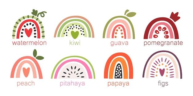白い背景の上の果物のイラストとしてスタイリングされたカラフルな虹のセット