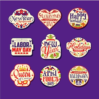 カラフルなレトロなお祝いロゴまたはラベルのセット。挨拶と休日ステッカーのヴィンテージの装飾品。正月、聖バレンタインの日、お誕生日おめでとう、レイバーメイの日、カーニバル。