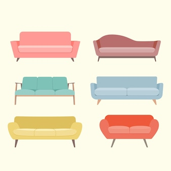 Набор красочных ретро дивана. векторная иллюстрация