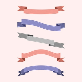 Set of colorful ribbon vectors