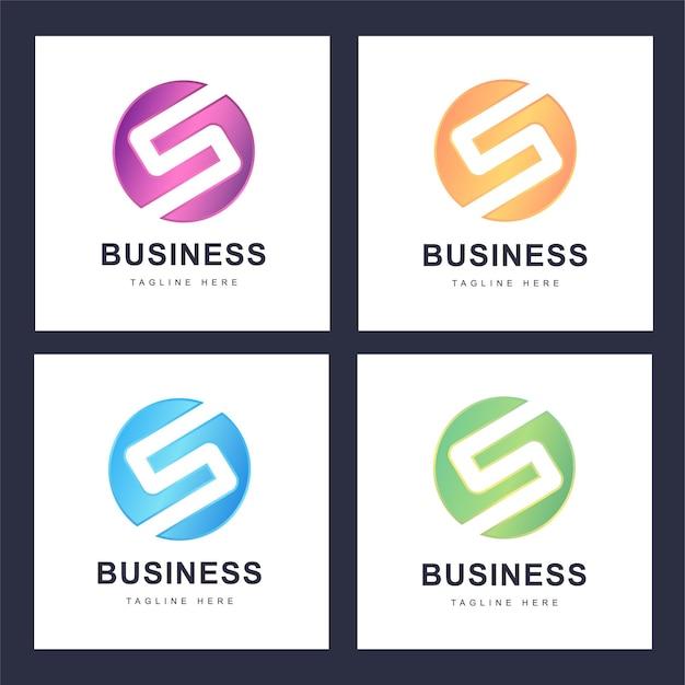 いくつかのバージョンでカラフルなs文字ロゴのセット