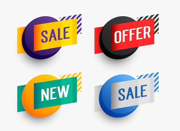 사업 추진을위한 다채로운 판매 배너 세트