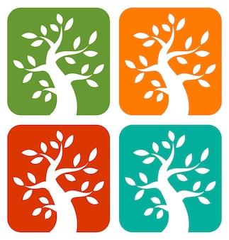 カラフルな季節の木の大胆なアイコンのベクトル図のセット