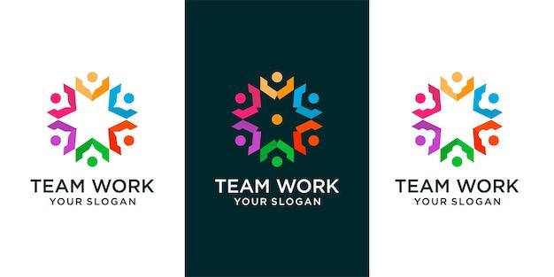Набор красочных шести звезд значок абстрактные люди логотип люди подключаются, общение и семья. плоский векторный элемент шаблона дизайна логотипа.
