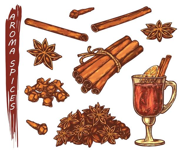 아로마 향료를위한 다채로운 스케치의 집합입니다. 아니스 스타와 정향 뿌리, 계피 및 레몬 차 컵. 손으로 그린 향신료 음식.
