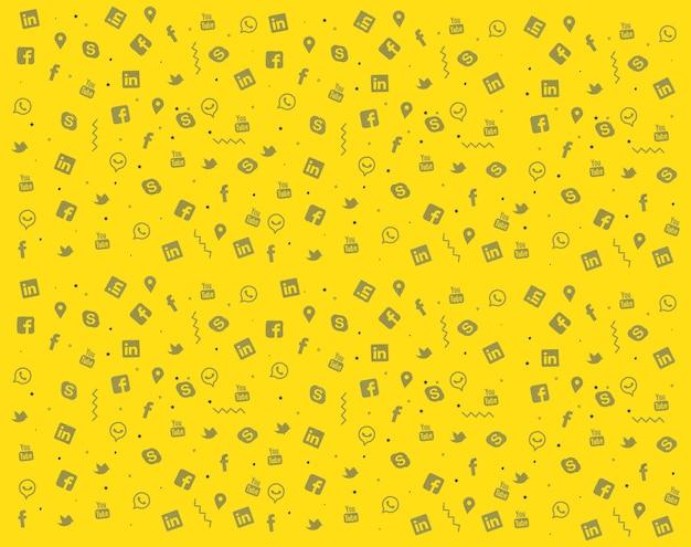 다채로운 소셜 미디어 낙서 질감 디자인의 세트