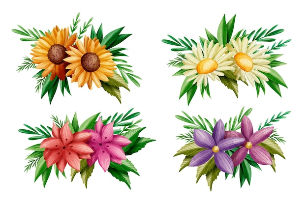 カラフルな春の花と葉のセット