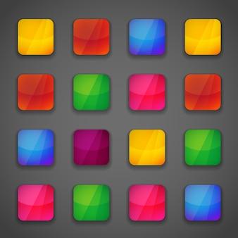 虹の鮮やかな明るい色であなたのデザインのためのカラフルな正方形のボタンアイコンのセット