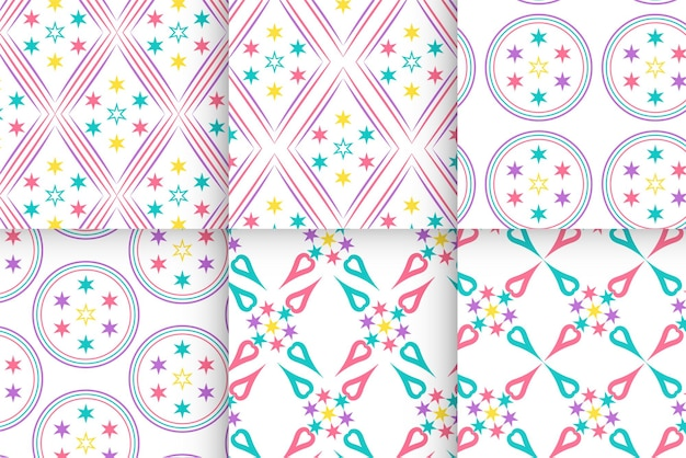 Набор красочных звездных линий геометрический узор