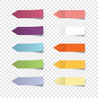 다채로운 스티커 세트입니다. 투명 배경에 고립 된 스티커 메모