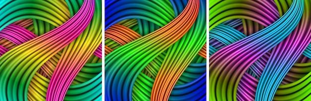 다채로운 줄무늬 배경 세트입니다. 줄무늬 배경입니다. 벡터 일러스트 레이 션