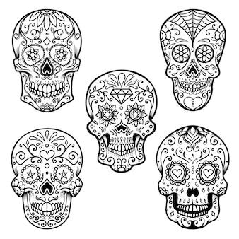 白い背景に分離されたカラフルなシュガースカルのセットです。死霊のえじき。 dia de los muertos。ポスター、カード、バナー、印刷のデザイン要素。