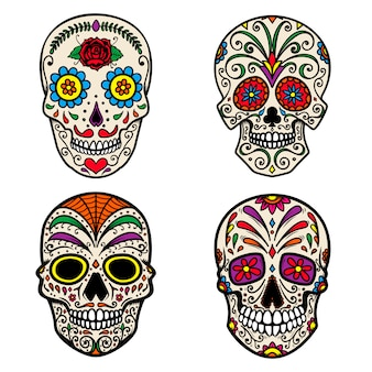 Набор красочных сахарных черепов на белом фоне. день смерти. dia de los muertos. элемент для плаката, открытки, баннера, печати. иллюстрация