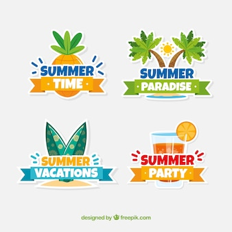 Set of colorful summer badges with beach elements in flat style