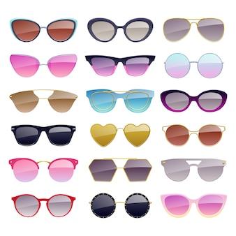 Набор иконок красочные солнцезащитные очки. модные аксессуары для очков.