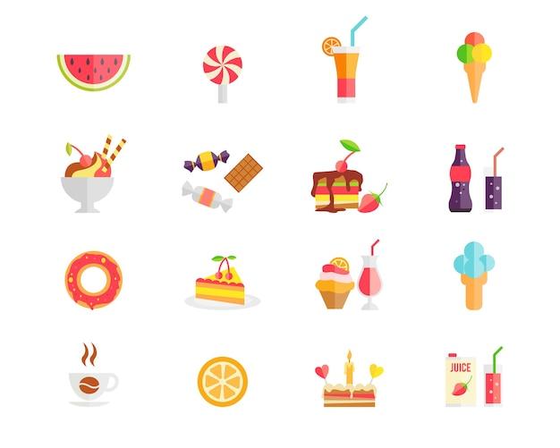 수박과 다채로운 과자 디저트와 케이크 아이콘 세트