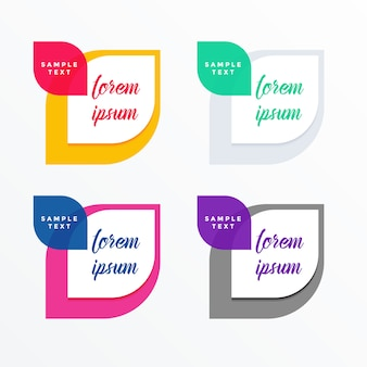 Set of colorful tags banner with text space