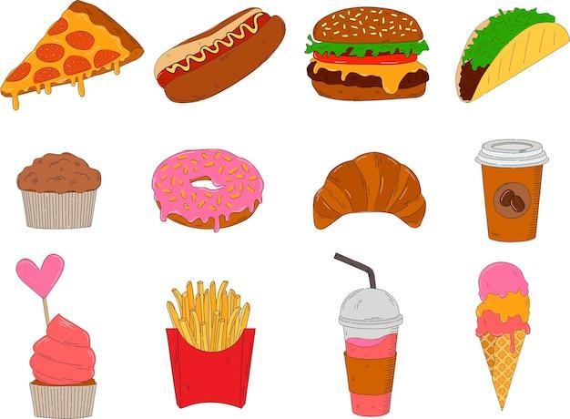 カラフルな持ち帰り用食品のセットです。手描きのベクトルイラスト-ファーストフード(ホットドッグ、ハンバーガー、ピザ、ドーナツ、タコス、アイスクリーム、クロワッサン、コーヒー、カップケーキ)。スケッチスタイルのデザイン要素。