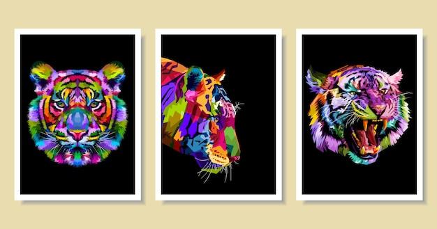 Набор красочных тигров в стиле поп-арт.