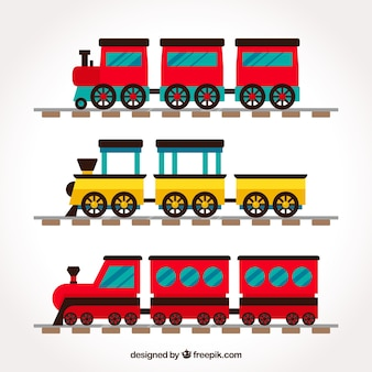 Set of colorful trains with flat design