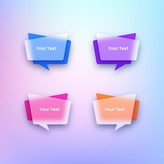 カラフルな透明なテキストバナーのセット