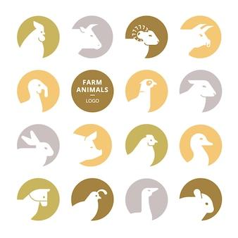 カラフルなベクトルの農場の動物のロゴのセット